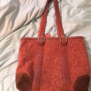 Coach pink/red wool tote